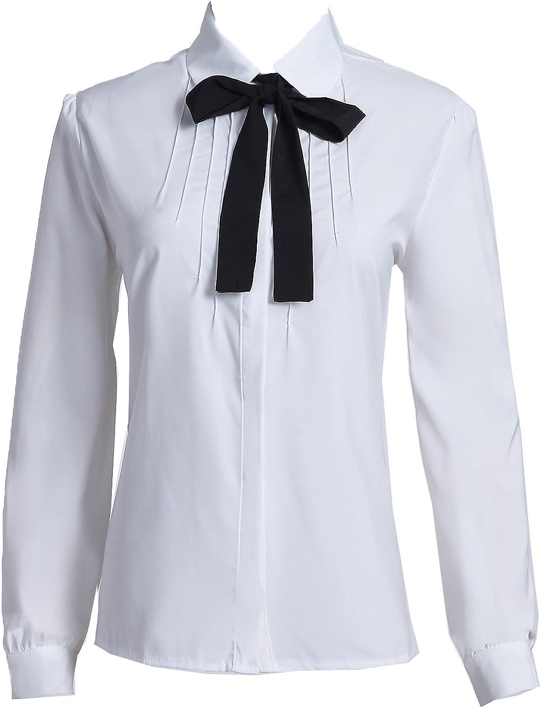 Taiduosheng Women's Long Sleeve Chiffon Work Tops Bowtie Blouses Button Down Shirts White OL Shirts
