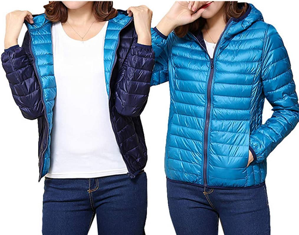 Duck Ultra Light Down Jacket Women Winter Coat Thin Slim Warm Hooded Outerwear Double Side Wear Overcoat