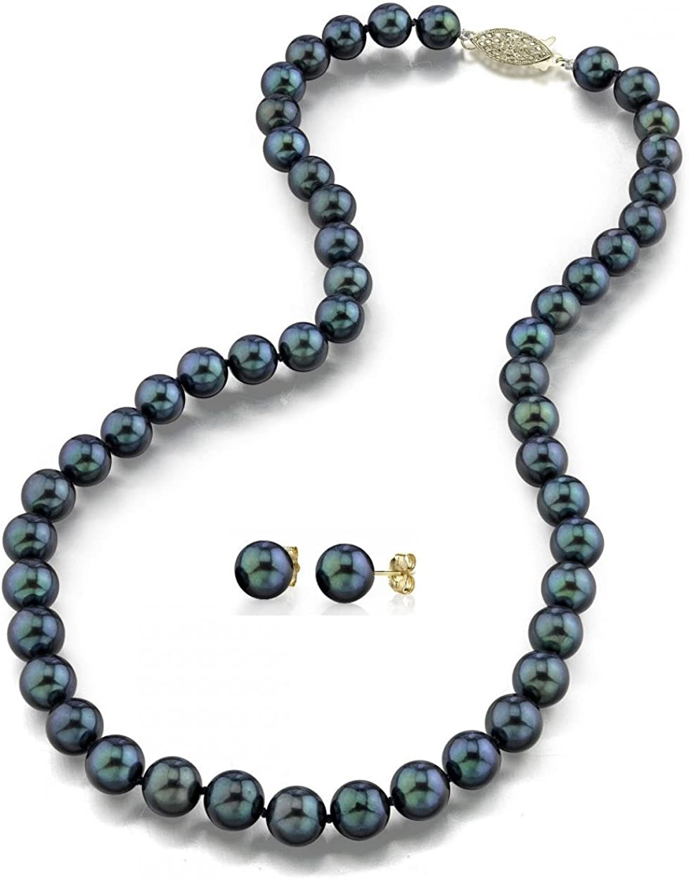 THE PEARL SOURCE 14K Gold 6.5-7mm AAA Quality Round Black Akoya Cultured Pearl Necklace & Earrings Set in 18