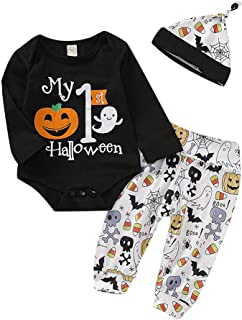 Infant Boy Outfits My First Halloween Print Pumpkin Bodysuit Long Pants with Hat 3pcs Goth Baby Clothes Set