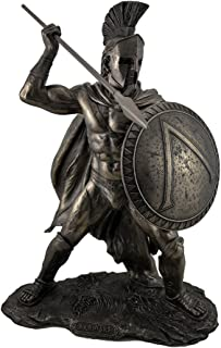 Resin Statues Large Spartan King Leonidas With Sword And Shield Bronzed Statue 9.5 X 20 X 14 Inches Bronze