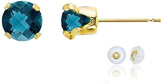 Solid 10K Yellow, White or Rose Gold 6mm Round Genuine Gemstone Birthstone Stud Earrings