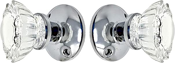 Rousso's Reproductions Crystal Fluted Glass French Door Dummy Knob Set with All Hardware to Install on One Side of Two Doors or Any Two Solid Surfaces for Pantry, Furniture, Home or Office Decorating