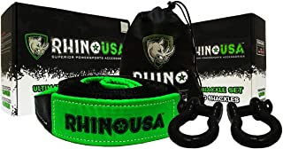 RHINO USA COMBO Recovery Tow Strap (20ft) & D Ring Shackles - Lab Tested 31,518lb Break Strength - Heavy Duty Draw String bag Included - Triple Reinforced Loop End to Ensure Peace of Mind