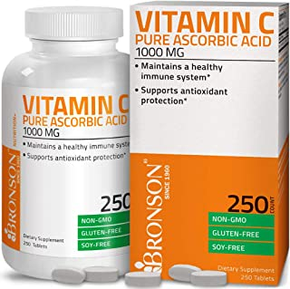 Vitamin C 1000 mg Premium Non-GMO Ascorbic Acid - Maintains Healthy Immune System, Supports Antioxidant Protection - 250 T...