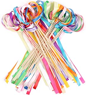 Ribbon Wands Mix Color Chromatic Silk Streamers with Bells Fairy Stick Wish for Christmas Wedding Party Activities Gift(Pack of 30)