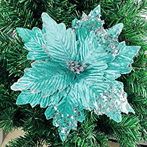zorpia 6pcs Silk Poinsettias Artificial Christmas Flowers Glitter Poinsettia Christmas Tree Ornaments Artificial Wedding Christmas Tree Flower Wreath Decorations Picks,Mint Green