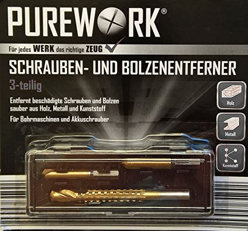 PUREWORK® Schrauben- & Bolzenentferner - HSS Ausdreher - 3 Ausdreh-Bits im Set für Bohrmaschinen und Akkuschrauber