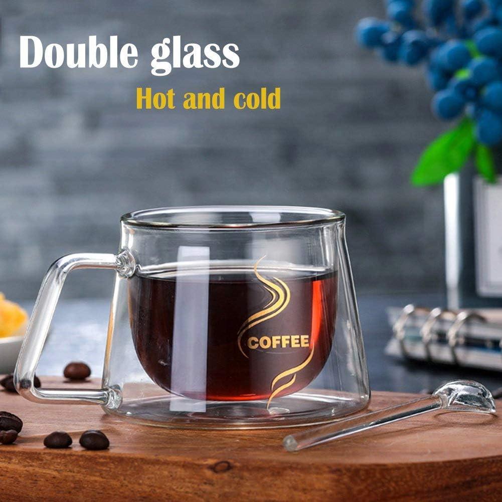 vaso de cristal transparente para caf/é vasos de doble pared con cuchara Taza de caf/é isot/érmica de 200 ml Brands 2 unidades doble pared de cristal con asa