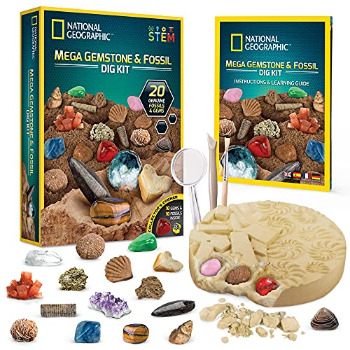 NATIONAL GEOGRAPHIC Mega Fossil and Gemstone Dig Kits - Excavate 20 Real Fossils and Gems, Great STEM Science Gift for Mineralogy and Geology Enthusiasts of Any Age