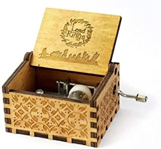 WooMax The Lord of the Rings Movie Theme Music Box Wooden Engraved Hand Crank Musical Toy