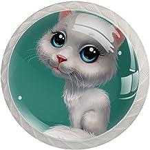 Lade handgrepen trekken ronde kristallen glazen kast knoppen keuken kast handvat, wihte kat