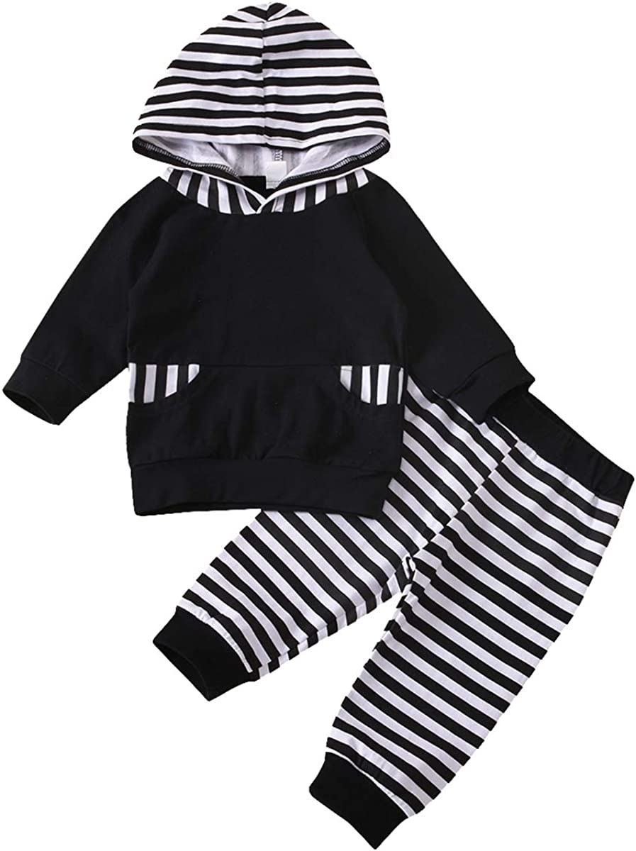 Kids Toddler Baby Boys Fall Winter Clothes Outfits Sweatsuit Hoodie Tops Striped Pants Set