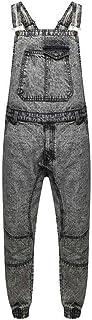 Men's Denim Acid Wash Full Length Dungarees Jeans Mid Bib Overalls Acid Wash