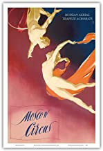 Moscow Circus - Russian Aerial Trapeze Acrobats - Vintage Theater Poster c.1955 - Master Art Print - 12in x 18in