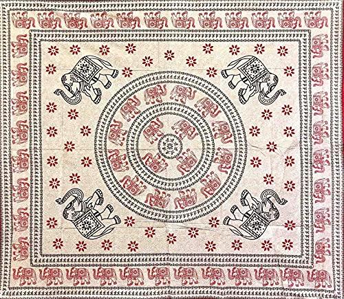 Funda para sofá étnica, elefantes y margaritas, color arena, 100 % algodón, 210 x 230 cm, sin flecos, batik, oriental, toalla de playa (rojo)