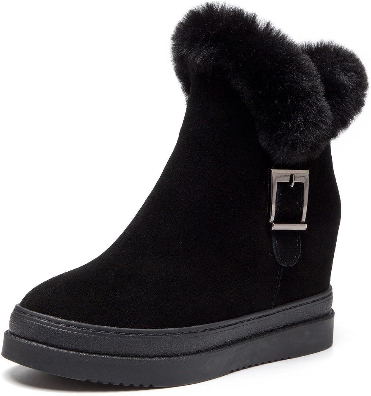 Nine Seven Suede Leather Women's Round Toe Wedge Heel Platform Handmade Ankle Booties With Fur
