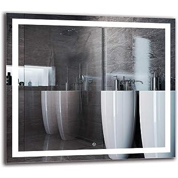 Espejo LED Deluxe - Dimensiones del Espejo 90x80 cm - Interruptor tactil - Espejo de baño con iluminación LED - Espejo de Pared - Espejo con iluminación - ARTTOR M1ZD-47-90x80 - Blanco frío 6500K: Amazon.es: Hogar