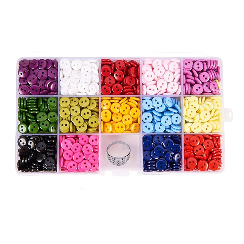 PH PandaHall 1400pcs 14 Colors Resin Buttons 2 Hole Round Sewing Buttons for Sewing, Scrapbooking, DIY Handmade Decorations with Thimble