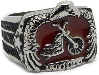 صندوق مجوهرات سهل رايدر خاتم دراجة نارية ، خاتمة لسائقي الدراجة النارية خاتم ، للرجال خمر دراجة نارية كلوب الدائري ، أحمر ...