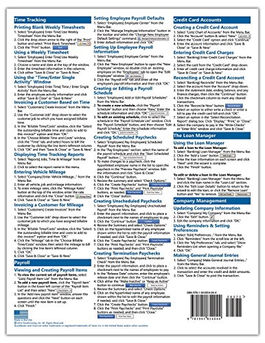 QuickBooks Pro 2015 Quick Reference Training Card - Laminated Guide Cheat Sheet (Instructions and Tips)