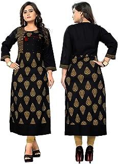 Women's Kurta Indian Kurtis for Women Casual Tunic Kurti Tops Long Dress 158-165 (Black 160, M-38)