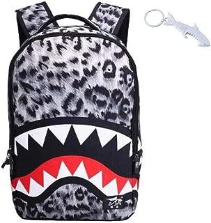 Shark Leopard Tiger Backpack bag for Boy or Girl with Free Shark Bottle Opener Keychain Included,(C)