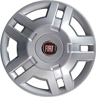 Tapacubos aut/éntico para llantas de 14 de Fiat 500/efecto cromado color oficial con borde exterior blanco Individuales