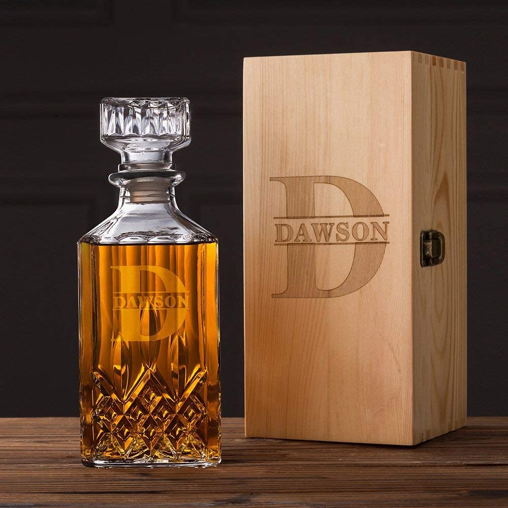 Groomsmen OFFicial shop Popular products Gifts Whiskey Decanter Personalized 28oz. Monogrammed