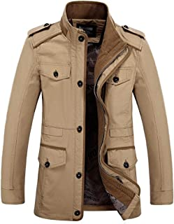 BOZEVON Men's Casual Coats - Spring and Autumn Stand Collar Jackets Mid-Length Overcoat Plus Sizes