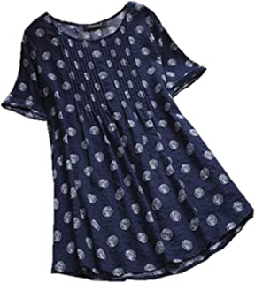 TT WARE S-5Xl Vintage Women Polka Dot Print Pleated Short Sleeve Blouse-Navy-6