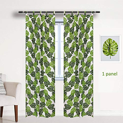 BROSHAN White and Green Curtains for Bedroom 1 Panel, Watercolor Palm Leaf Pattern Window Door Curtain,Tropical Print Curtain Drapes Room Darkening for Window Treatment Tab Top, 78 inches Long