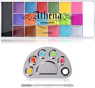 UCANBE Face Paint Oil with Mixing Palette Makeup Set, 20 Colors Halloween Body Art Costume Party Painting, Stainless Steel...