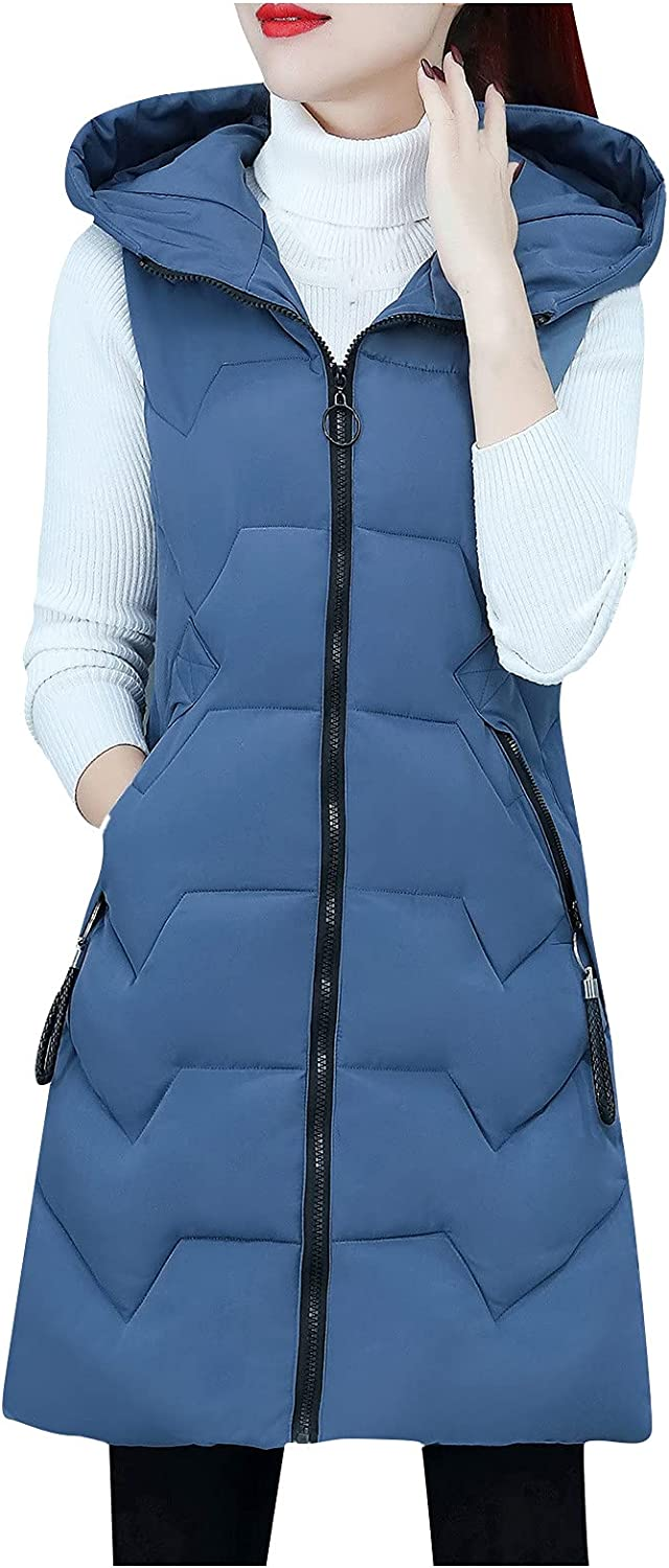 Messigaot Women's OFFicial shop Mid Long Today's only Hooded Zipper Padde Vest Down Quilted