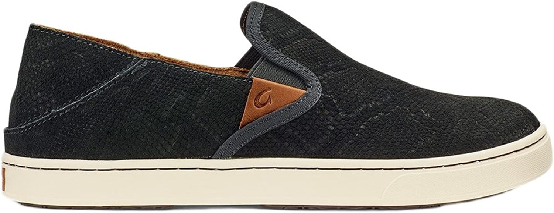 OLUKAI New Woherren Pehuea Leather Slip On schwarz Honu schwarz 10