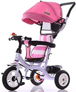 Jeterndy Children's Tricycle Kids Tricycle 7-in-1 Baby Trike Tricycle with Push Handle/Wheel Clutch/Rotating and Reclining Seat for Children to Sleep in Kids Trike (Color : Pink, Size : One Size)