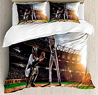 Ambesonne Teen Room Duvet Cover Set, Professional Baseball Players in The Stadium Playing The Game Pich Sports Print, Decorative 3 Piece Bedding Set with 2 Pillow Shams, Queen Size, Rainbow Colors