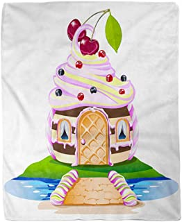 Adowyee 60x80 Inch Soft Decor Throw Blanket Sweet House with a Cream Colored Roof and Cherry Cheerful 3D Baked Baking Bread Warm Cozy Flannel Bed Blankets for Sofa Couch Chair Living Bedroom