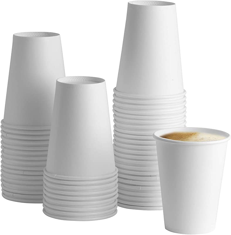 100 Pack 12 Oz White Paper Hot Cups Coffee Cups