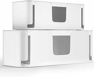 MUDEELA 2 Stück Kabelbox Groß und Klein, Kabelmanagement-Box mit Belüftung, Kabel Organizer zum Verstauen von Steckdosenleisten, Weiß