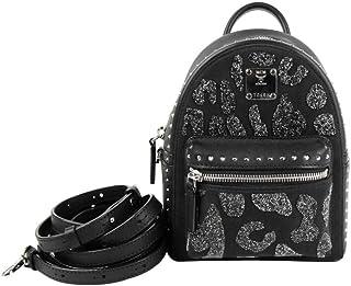 MCM Women's Bebe Boo Black Leather/Suede Spike Studs Backpack MWK8AVE11BK001