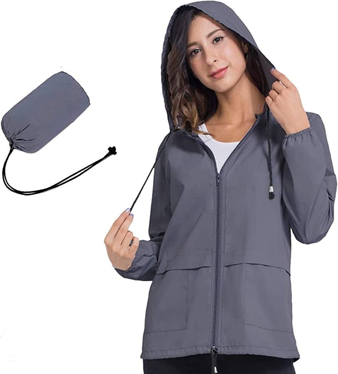 Spring new work one after another JTANIB Womens 67% OFF of fixed price Raincoat Windbreaker Lightweight Packab Waterproof