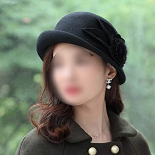 SYLOZ Women's Woolen Hat, Autumn and Winter Retro Wild Hat, Windproof Dustproof Curling Top Hat (Color : Black)