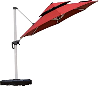 PURPLE LEAF 11 Feet Double Top Round Deluxe Round Patio Umbrella Offset Hanging Umbrella Outdoor Market Umbrella Garden Umbrella, Terra