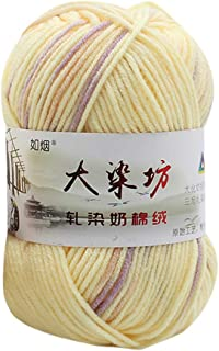 Fan-Ling Chunky Colorful Hand Knitting Milk Cotton Knitting Yarn, Assorted Colors Smooth Soft DIY Hand Knitting Baby Wool Craft Shawl Scarf Crochet Thread Supplies (L)