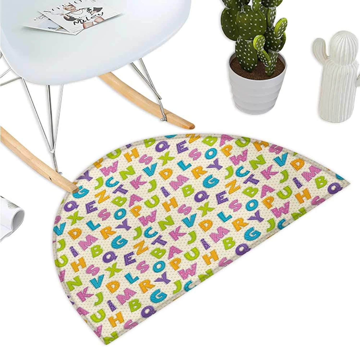 Kids Semicircular Cushion Cute Funny Letters in Lively colors Cartoon Style ABC Alphabet on Polka Dots Backdrop Entry Door Mat H 47.2  xD 70.8  Multicolor
