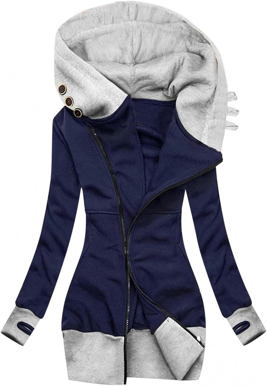 Zip up Hoodie Women Long Hoodies Thermal Jacket Sweater Tops Color Block Basic Casual Hooded Sweatshirt