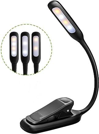 Litom Lampe de Lecture Livre, 4 LED [Lumière Blanc Froid et Chaud] , 3 Modes de Luminosité, Cou Flexible, Veilleus de Chevet, Câble USB Inclus,Lumière Clip Portable pour Kindle, eReaders,Nuit,Voyage