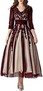 kxry Women's Lace Dress Long Sleeves Mother of The Bride Dresses Evening Party Formal Gown