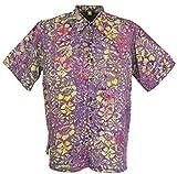GURU-SHOP, Hippie Shirt, Camicia Hawaii, Camicia Batik, Lilla/Giallo, Sintetico, Dimensione Indumenti:XXXL, Camicie da Uomo